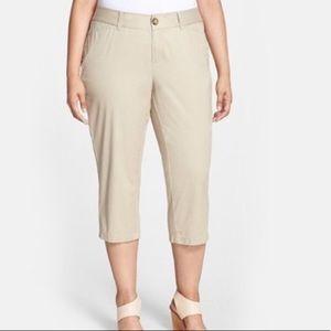 Sejour tan Oxford cropped khaki pants PLUS SIZE